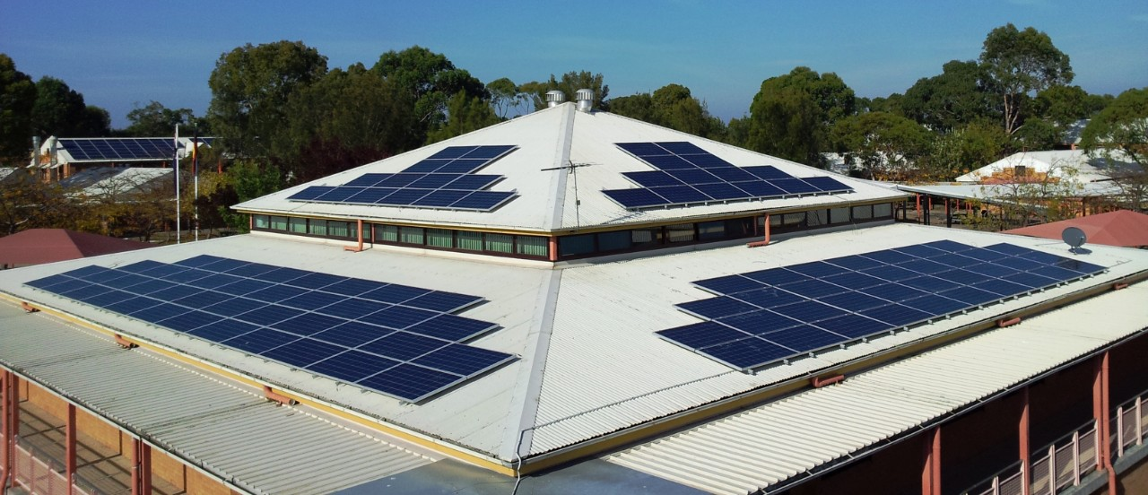 picture of the library solar panels at Menai High School